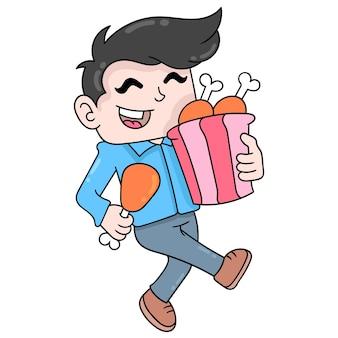 Ragazzo con una faccia felice che cammina con un sacchetto di cosce di pollo fritte, illustrazione vettoriale scarabocchiare icona immagine kawaii.