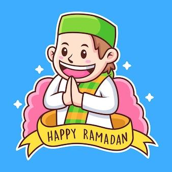 Ragazzo con happy ramadan text cartoon
