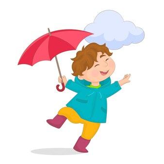 Ragazzo con giacca e ombrello per la pioggia