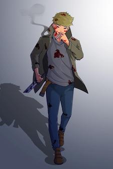 Disegno del personaggio del ragazzo con il coltello e la sigaretta