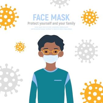 Ragazzo con maschera medica sul viso per proteggerlo dal coronavirus covid-19, 2019-ncov isolato su sfondo bianco. concetto di protezione antivirus per bambini. rimanga sicuro. illustrazione
