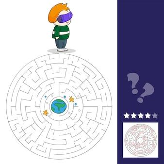 Ragazzo con auricolare vr nello spazio. i giochi del labirinto trovano il percorso. illustrazione vettoriale. scene spaziali vr.