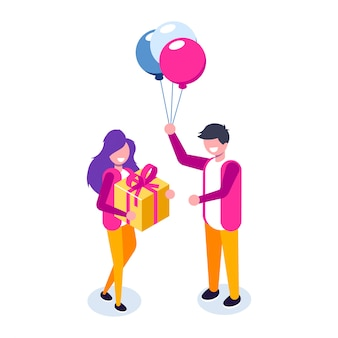 Il ragazzo presenta un regalo alla sua bella ragazza