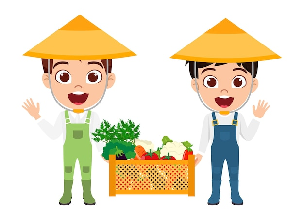 Personaggio dei ragazzi che indossa abiti da contadino con cappello