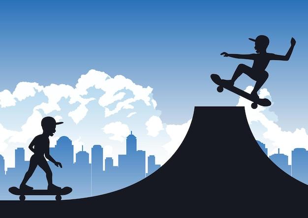 I ragazzi si divertono a giocare a skateboard con un design silhouette