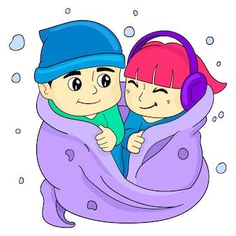 Ragazzi e ragazze si coprivano e si amavano. illustrazione vettoriale cartone animato