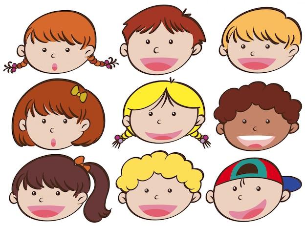 Espressione facciale di ragazzi e ragazze