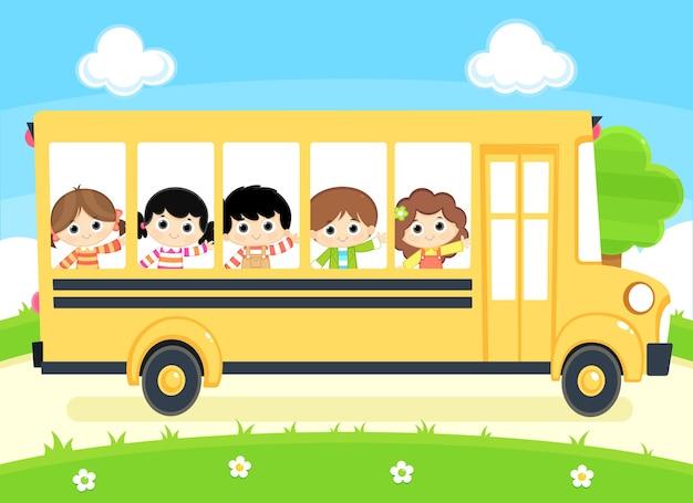 Ragazzi e ragazze che guidano nell'illustrazione dello scuolabus