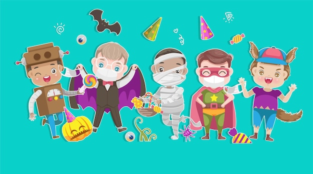 Set di costumi di halloween con maschera per ragazzi.