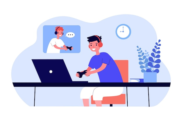 Ragazzi che giocano a gioco di rete piatto illustrazione vettoriale. i bambini si divertono in cuffia con i controller davanti ai laptop. gioco per computer, amicizia, divertimento, concetto di hobby per il design, pagina di destinazione