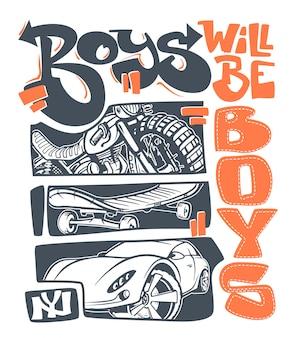 Stampa grafica della maglietta dei ragazzi, illustrazione