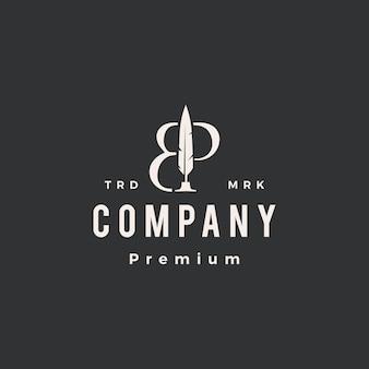 Modello di logo vintage hipster con penna piuma segno di lettera bp