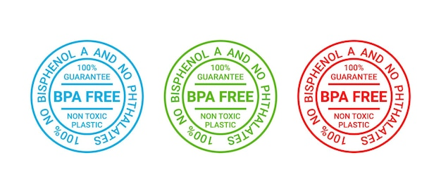 Timbro senza bpa. emblema in plastica atossica. adesivo per imballaggio ecologico. illustrazione vettoriale.