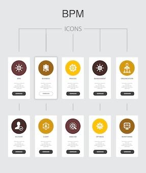 Bpm infografica 10 passaggi ui design.business, processo, gestione, organizzazione semplici icone