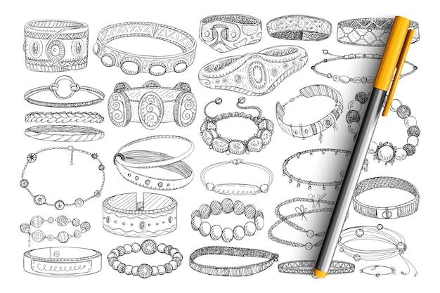 Insieme di doodle di braccialetti e palline. collezione di braccialetti alla moda disegnati a mano con pietre, metalli, gioielli da indossare come accessori isolati.