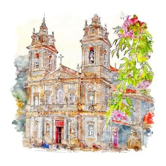 Illustrazione disegnata a mano di schizzo dell'acquerello di braga portogallo