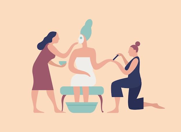 Treccia con maschera facciale sul viso e coppia di assistenti che fanno manicure e pedicure. routine mattutina nuziale, preparazione per la festa di nozze. piatto del fumetto colorato illustrazione vettoriale.