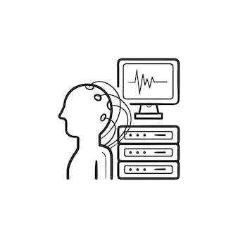 Icona di doodle di contorni disegnati a mano di analisi del cervello. elettroencefalografia, concetto di diagnosi del segnale cerebrale