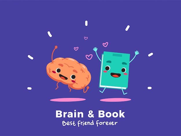 Un cervello e un libro. isolato.