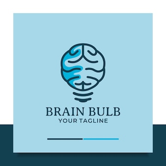 Il design del logo della lampadina del cervello pensa all'idea