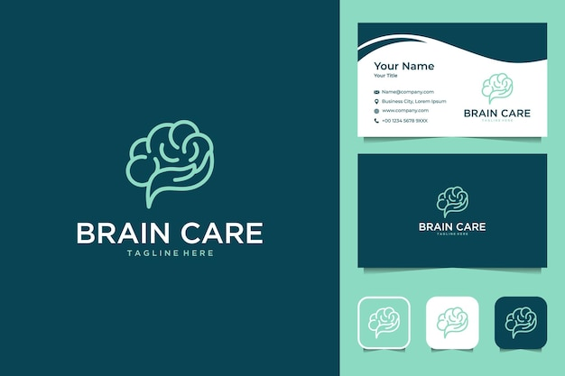 Cura del cervello con design del logo in stile arte linea della mano e biglietto da visita