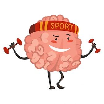 Emozione di carattere del cervello. il carattere del cervello va per lo sport. emoticon divertente del fumetto