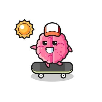 L'illustrazione del personaggio del cervello guida uno skateboard, un design in stile carino per maglietta, adesivo, elemento logo