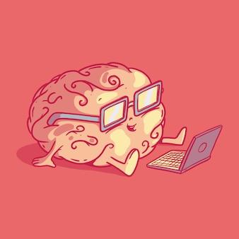 Illustrazione del carattere del cervello. tecnologia, conoscenza, concetto di design di brainstorming
