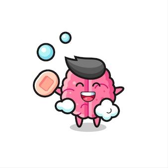 Il personaggio del cervello sta facendo il bagno mentre tiene il sapone, design in stile carino per maglietta, adesivo, elemento logo
