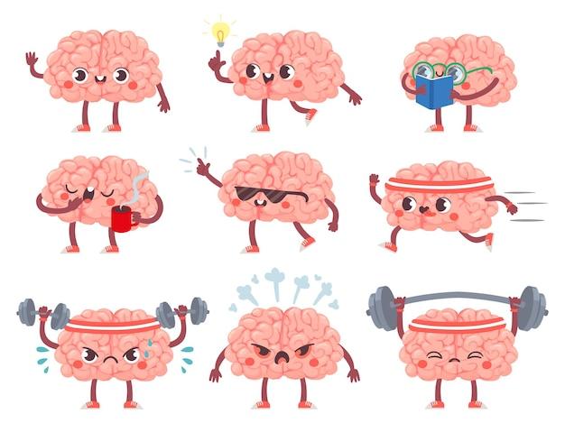 Caratteri del cervello. cervelli felici in diverse pose ed emozioni, esercizio mentale, educazione metafora creativa mascotte icone cartone animato vettore set. avere un'idea, leggere libri, bere caffè, fare sport