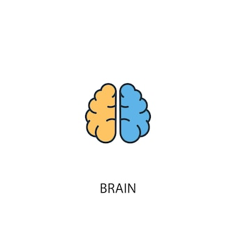Icona del cervello concetto 2 linea colorata. illustrazione semplice dell'elemento giallo e blu. cervello concetto contorno simbolo design