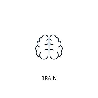 Icona della linea di concetto del cervello. illustrazione semplice dell'elemento. disegno di simbolo di struttura del concetto di cervello. può essere utilizzato per ui/ux mobile e web