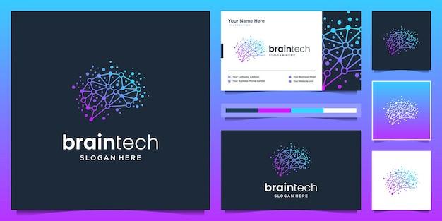 Disegno del logo di connessione del cervello. logo e biglietto da visita della tecnologia del cervello digitale.
