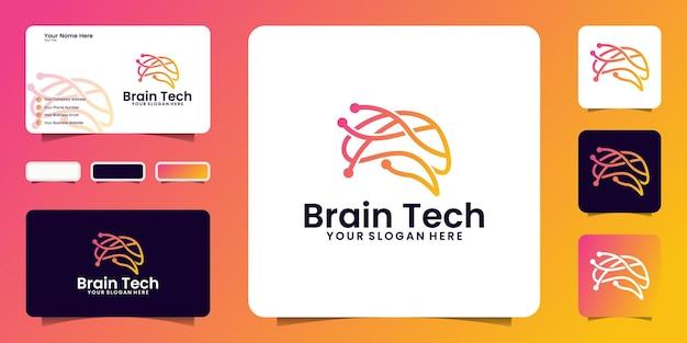 Ispirazione per il logo del design del cervello con linee di connettività e modello di biglietto da visita