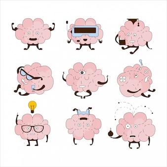 Insieme dell'icona di cervello diverse attività ed emozioni