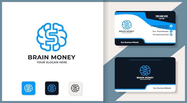 Design del logo del dollaro del cervello, design di ispirazione per gran lavoratore e denaro intelligente