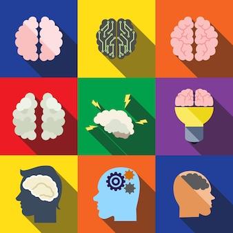 Le icone piatte del cervello impostano gli elementi, le icone modificabili, possono essere utilizzate nel logo, nell'interfaccia utente e nel web design