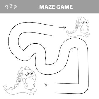 Gioco del cervello per bambini. labirint con dino. trova la strada di casa. puzzle facile