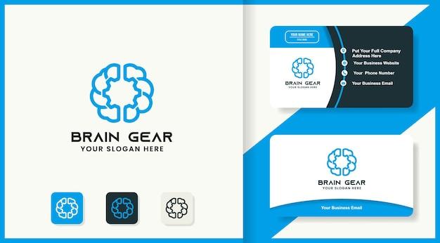 Logo brain gear mono linea e design del biglietto da visita