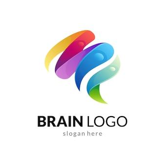 Modello di logo gradiente del cervello