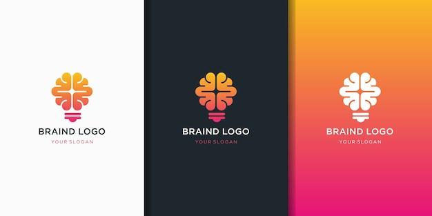 Cervello lampadina logo disegno vettoriale