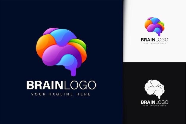 Design del logo del cervello con gradiente