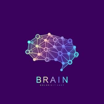 Modello di progettazione di sagoma di cervello logo con linee e punti collegati. logo di intelligenza artificiale. il lampo di genio pensa il concetto dell'icona di simbolo del logotype