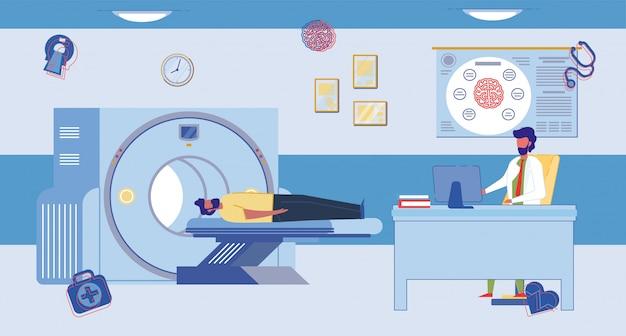Stanza di procedura di imaging a risonanza magnetica cerebrale.
