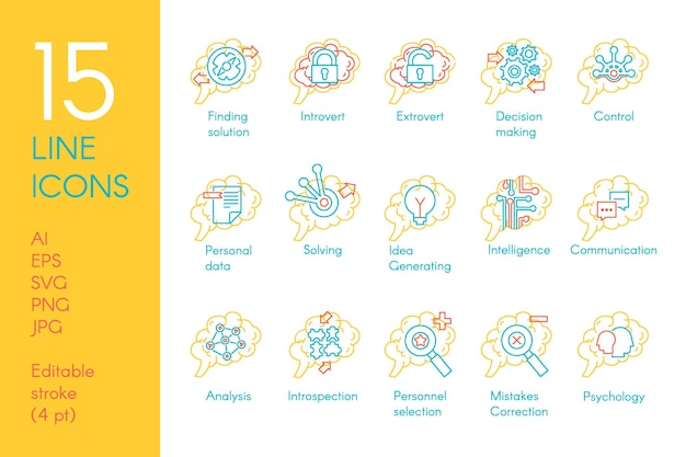 Vettore stabilito dell'icona della raccolta della funzione della mente del cervello risolvere e trovare soluzioni, introverso ed estroverso, generare idea e prendere decisioni, analizzare e controllare il pittogramma lineare. illustrazione di contorno