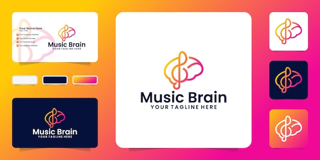 Ispirazione per il design del logo creativo del cervello e della musica e ispirazione per i biglietti da visita