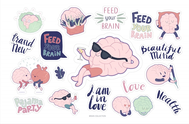 Set di adesivi per il cervello e set per il tempo libero