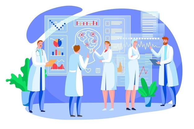 Studio del cervello, illustrazione vettoriale. il carattere del medico della donna dell'uomo usa la scienza per studiare l'organo della testa umana, la ricerca medica nel concetto di laboratorio. psicologia medica dei cartoni animati e salute del corpo.