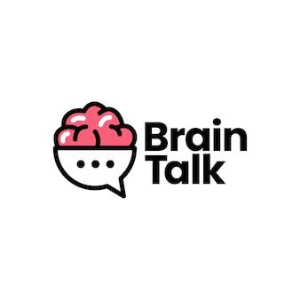 Brain talk chat bubble pensa icona logo illustrazione