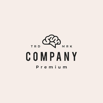 Brain talk chat forum pensa idea smart hipster logo vintage icona illustrazione vettoriale